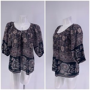 JOIE TOP BLOUSE 1/2 Sleeve Floral XS